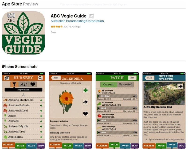 Sustainable Food Apps - ABC Vegie Guide